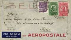(Brazil) Pre-printed Aeropostale envelope postmarked Rio de Janeiro October 29, 1932 and addressed to Paris with arrival b/s November 7th.