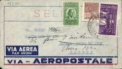 (Brazil) Pre-printed Aeropostale envelope postmarked Rio de Janeiro November 19, 1932 addressed to Sטvres (France) with arrival b/s November 29th and re-addressed Paris b/s November 29th.