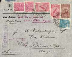 (Brazil) Registered airmail cover postmarked Porto Alegre (Brazil) December 16, 1932 addressed to Beinvil a/See (Switzerland) with arrival b/s December 31st. Light horizontal crease.