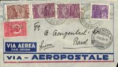 (Brazil) Pre-printed Aeropostale envelope postmarked Porto Alegre (Brazil) May 27, 1933 addressed to Basel (Switzerland) with no arrival b/s but with transit Geneva b/s June 5th. Both postmarks on front of cover.