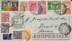 (Brazil) Pre-printed Aeropostale envelope postmarked Santa Cruz (Brazil) June 2, 1933 addressed to Basel (Switzerland) with no arrival b/s but with transit Porto Alegre b/s June 3rd and transit postmark Geneva June 12th. Attractive franking with 10 stamps.