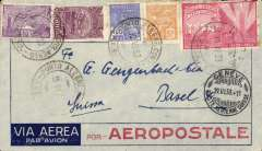 (Brazil) Pre-printed Aeropostale envelope postmarked Porto Alegre (Brazil) June 10, 1933 addressed to Basel (Switzerland) with no arrival b/s but with transit Geneva b/s June 19th. All postmarks on front of cover.