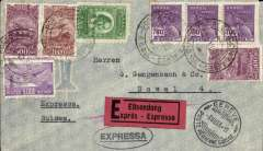 (Brazil) Pre-printed Aeropostale envelope postmarked Porto Alegre (Brazil) June 24, 1933 addressed to Basel (Switzerland) with arrival b/s July 3 and with transit Geneva b/s July 3rd. Red ?Express? sticker.