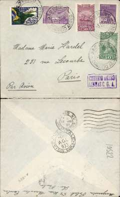 (Brazil) Cover postmarked Sao Paulo August 5, 1933 addressed to Paris with arrival b/s August 14th.  ?Correio Aereo Linhas C.G.A.? rectangular boxed cachet. Private correspondence much scarcer than the usual commercial use of airmail.