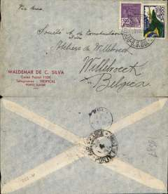 (Brazil) Commercial cover postmarked Porto Alegre April 28, 1934 addressed to Willebroeck (Belgium) without arrival b/s but with Koln transit b/s May 7th. Even though the transit postmark is German, the attribution to Air France is based on the fact that AMFRA 322 left Buenos Aires on April 28 and that the Porto Alegre postmark is an Air France one.