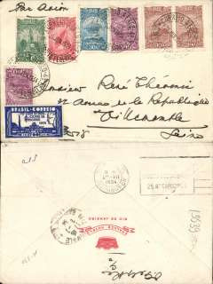 (Brazil) Cover postmarked Rio de Janeiro June 23, 1934 addressed to Villemomble (France) with arrival b/s July 2nd and Paris transit b/s July 2nd. Franking includes the attractive Sc.389 and the five 1929 airmail stamps reissued in 1934. Cover from the Palace Hotel in Rio.