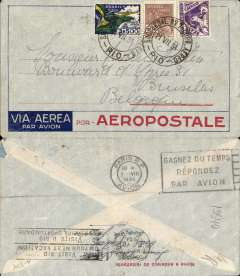 (Brazil) Pre-printed Aeropostale cover postmarked Rio de Janeiro July 21, 1934 addressed to Brussels without arrival b/s but with the Paris transit b/s August 1st. Closed tear verso. Late use of an Aeropostale envelope since Air France had taken over the company nearly a year before.