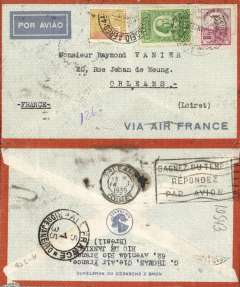 (Brazil) Pre-printed Air France envelope postmarked Rio de Janeiro January 5, 1935 addressed to Orlיans (France) with arrival b/s January 14th. Early Brazilian Air France envelope. Cover addressed to Raymond Vanier, famous Aeropostale pilot and manager of South American lines. He had gone back to France to work for Air Bleu in 1935.