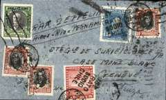 (Chile) Cover postmarked Valparaiso (Chile) April 23, 1935 to Geneva with no arrival b/s but transit Marseille Gare Avion b/s of May 5th. Total postage of 7.8 pesos. Interesting failed attempt to connect with the GRAF ZEPPELIN flight. The sender had written instructions to connect with the Graf Zeppelin from Buenos Aires to Pernambuco. On this second South American flight of 1935, the Zeppelin did not go to Buenos Aires but began its return trip in Rio on April 25. The cover was flown by Air France (or Panagra) from Santiago to Buenos Aires but obviously failed to connect with the Graf Zeppelin in Rio. It then took the usual Air France air/ship route from Natal to France. A little trimmed on top. Interesting also for Zeppelin collectors.