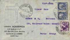 (Brazil) This commercial airmail cover postmarked Amazonas (Brazil) November 27, 1935 addressed to Paris with arrival b/s December 9th. Late AMFRA flight, the full air service began a month later.
