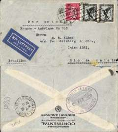 (Germany) Germany-France-Brazil, cover postmarked Hannover (Germany) April 17, 1930 to Rio de Janeiro (Brazil) with transit b/s Strasbourg (France) April 18 and arrival b/s Rio de Janeiro April 26th. German blue airmail label. Franking includes a pair of rare Sc. C33 ($30 each used condition in Scott 1998 catalogue).