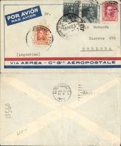 (Spain) Spain to Argentina, pre-printed Aeropostale cover postmarked Barcelona June 7, 1930 to Cordoba (Argentina), bs Buenos Aires 16/6. Franked with Sc. 338, 341 and 342 (2). Aeropostale covers from Spain to South America are surprisingly scarce.