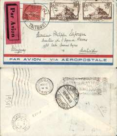 (France) Pre-printed Aeropostale cover postmarked Paris July 30 with transit Toulouse b/s July 31st and Montevideo (Uruguay) arrival b/s August 12. Red airmail label. Franked with two copies of Sc. 249.