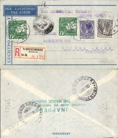 (Netherlands) Aeropostale, Netherlands acceptance for Argentina, registered airmail envelope with typed Aeropostale marking postmarked The Hague February 25, 1931 to Buenos Aires with arrival b/s March 9th. Franking include 2 copies of airmail stamp Scott C5.