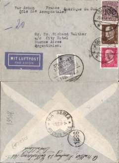 (Germany) Cover postmarked Salzwedel (Germany) August 20, 1931 with Stuttgart-Strasbourg train postmark of August 22 and arrival b/s of Buenos Aires September 1st. German airmail label.