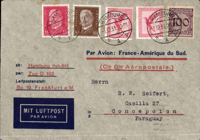 (Germany) Germany to Paraguay, Aeropostale cover pre-printed in Germany (this one with C.G.A. printed in red) postmarked Hamburg December 1st, 1931 with transit b/s Strasbourg December 2nd and Marseille December 3 with Paraguay arrival b/s December 19th (town illegible but addressed to Concepcion).
