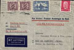 (Germany) Aeropostale cover pre-printed in Germany (this one with C.G.A. printed in red) postmarked Hamburg January 22, 1932 with transit Strasbourg b/s January 23 and arrival b/s Rio de Janeiro January 30th. Franking includes Sc. 338.