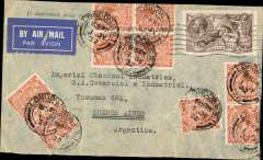 (GB External) GB to Argentina, bs Buenos Aires July 12, and postmans delivery mark, cover to Imperial Chemical Industries, Tucuman, franked 2/6d seahorse + 9x2d KGV ICI perfins postmarked London July 1st, 1932 Torn airmail label. The franking includes the rare Sc. 179 ($30 used in 1998