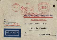 (Germany) Pre-printed Aeropostale envelope printed in Germany (with Aeropostale replacing C.G.A. in red) postmarked Bremen September 30, 1932 with uncommon metere franking, transit Marseille b/s October 2nd and arrival b/s Rio de Janeiro October 8th. Closed tear verso, see scan.