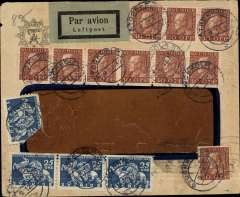 (Sweden) Sweden to Argentina, early airmail from Stockholm to Buenos Aires 25/12, via Berlin 10/12 and Marseilles 12/12, window cover franked 10x 30ore and 4x 25 ore (one has corner damage), Aeropostale.Great routing.