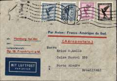 (Germany) Pre-printed Aeropostale envelope printed in Germany (with Aeropostale replacing C.G.A. in red) postmarked Hamburg December 16, 1932 with Marseille transit b/s December 18 and arrival b/s Porto Alegre December 24th. Franked with Scott C29, C30 (2) and scarce C32.