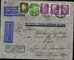 (Germany) Germany to Brazil, pre-printed Aeropostale envelope printed in Germany with only ?Par Avion: France-Amיrique du Sud? and no company name. Postmarked Bremen March 3, 1933 and arrival b/s Rio de Janeiro March 11th. Two airmail labels.