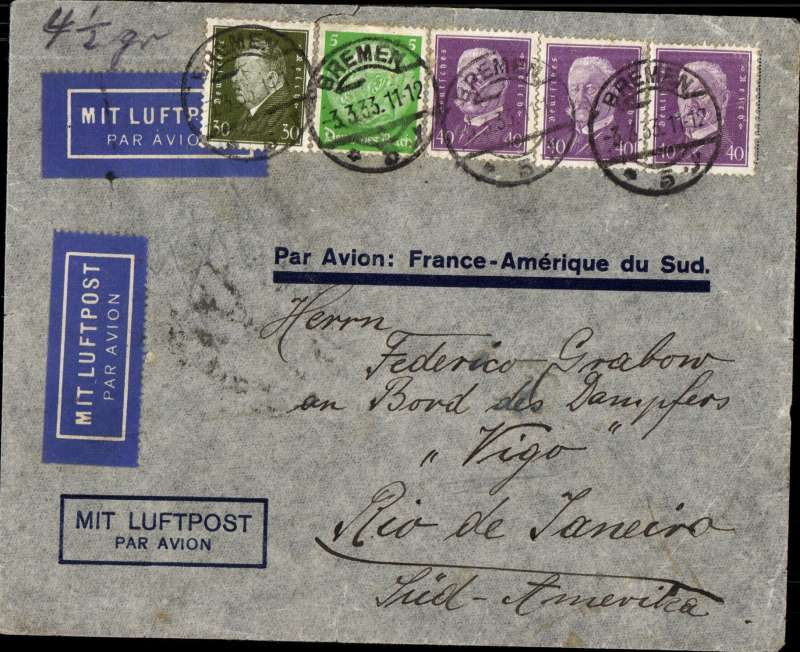 """(Germany) Germany to Brazil, pre-printed Aeropostale envelope printed in Germany with only """"Par Avion: France-Amיrique du Sud"""" and no company name. Postmarked Bremen March 3, 1933 and arrival b/s Rio de Janeiro March 11th. Two airmail labels."""