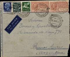 (Italy) Scarce acceptance from Italy Aeropostale service to South America, pre-printed airmail envelope postmarked Milan March 31, 1933 and arrival b/s Buenos Aires April 4th. Franking includes two copies of scarce C8 (one has a tiny corner perf defect). Rare Italian acceptance by Aeropostale to South America. Some rough opening on rh side.