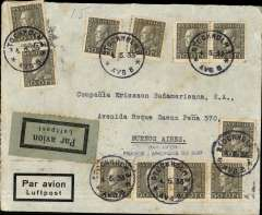 "(Sweden) Sweden to Argentina, early airmail from Stockholm to Buenos Aires 13/5 via Berlin 5/5, airmail cover franked 11 copies of Sc. 185, small blue ""Par Avion France – Amיrique du Sud"" , cachet. Aeropostale."