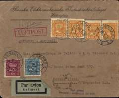 "(Sweden) Rare Swedish acceptance cover for Aeropostale service to South America, cover postmarked Halsingborg (Sweden) May 26, 1933 and addressed to Buenos Aires (illegible b/s) with transit b/s Berlin Bahnpost May 27 and Toulouse May 28. Scarce handstamp ""Par Avion France-Amיrique du Sud"". Franked with Sc. 148, 152 and 153 (4). The cover travelled from Sweden to Germany by train."