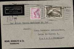 (Germany) Airmail cover addressed to Aeropostale postmarked Hamburg June 16, 1933 with transit Marseille b/s June 17 and arrival b/s Natal (Brazil) June 28. Franked with rare Scott C37 Graf Zeppelin stamp of 4DM. (1998 catalogue value for used was $ 40). Interesting association between the Graf Zeppelin stamp on a cover addressed to the French competitor airline.
