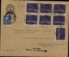 (Sweden) Rare Swedish acceptance cover for Aeropostale service to South America, cover postmarked Alvsjo (Sweden) June 27, 1933 and addressed to Buenos Aires (no arrival b/s) with transit b/s Berlin Bahnpost June 28 and Marseille June 29. With scarce handstamp ?Par Avion  France- Amיrique du Sud?. Nice franking made of  Sc 175 and 7 copies of Scott C7. The cover travelled from Sweden to Germany by train.
