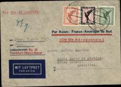 (Germany) Pre-printed Aeropostale envelope printed in Germany (older version with C.G.A.) postmarked Jdar July 7, 1933 with transit b/s Strasbourg July 8 and arrival b/s Rio de Janeiro July 15th. Franked with airmail stamps Scott. C27, C31 and C32