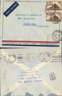 """(France) Pre-printed Aeropostale cover postmarked Marseille March 9, 1934 to Buenos Aires with arrival b/s of March 18. Franked with Sc. 250 (pair). Special """"South America by Aeropostale"""" envelope used here although Air France had taken over Aeropostale in 1933. Roughly opened verso."""