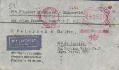 (Germany) Cover postmarked Oberhausen (Germany) May 2, 1934 with transit b/s Paris May 3 and Toulouse May 4 and with arrival b/s Rio de Janeiro (Brazil) May 12th. Airmail label. Scarce with both the French postmarks. 155pf meter franking.
