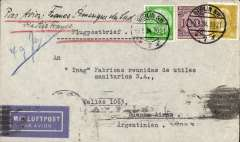 (Germany) Cover postmarked Berlin May 3, 1934 to Buenos Aires with arrival b/s of May 13th and with transit b/s in Marseille of May 5th. Good cover.