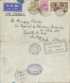 (GB External) GB-France-Chile, cover postmarked London June 1st, 1934 with transit b/s Paris June 2 and arrival b/s Santiago (Chile) June 12th. This cover was flown by Henri Guillaumet from Buenos Aires to Santiago since he operated all the trans-Andes flights from May 1932 and September 1934, franked 4/- ind 2/6d seahorse. Some rough opening along top front.