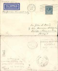 (GB External) GB to Brazil, cover postmarked London October 12, 1934 with transit b/s Paris October 13 and arrival b/s Recife October 19th, franked 10d. This cover has the blue and white airmail label ?Via Zeppelin Friedrichshafen? and a manuscript note ?By German mail only? but it arrived too late for the Zeppelin flight and was sent via Air France instead. Interesting for Graf Zeppelin collectors.