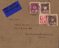(Belgium) Uncommon Belgian acceptance fro Brazil, cover postmarked Brussels March 29, 1935 with transit b/s Paris March 30 and arrival b/s Porto Alegre (Brazil) April 7th. Blue bilingual Belgian airmail label. Nice clean cover.