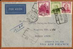 "(Spain) Acceptance from Spain for Argentina, pre-printed Spanish Air France registered cover postmarked Cadiz April 1, 1935 addressed to Buenos Aires with arrival b/s April 11th. Large ""Viva Cristo Rey"" sticker on back. It is known that mail left Paris on April 6th to be carried on all-air service using the Santos Dumont (flight 15A) but known examples of that mail have an arrival b/s in Buenos Aires of April 9th. It is possible that this cover was flown to Dakar but arrived too late for the Santos Dumont flight and put on board the usual aviso instead. In other words, there may have been two sets of mail for that date, the mail gathered in Paris for a direct Toulouse/Marseille - Dakar- Natal flight,and the mail picked up on the way which followed the usual plane-aviso scenario. Collot and Cornu do not expand on this possibility."