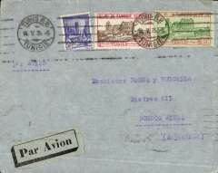(Tunisia) Tunisia to Argentina, cover postmarked Tunis May 14, 1935 to Buenos Aires with arrival b/s May 26. Advertising sticker on back. Black on blue airmail sticker. Franking of 7,50 Frs. Uncommon.
