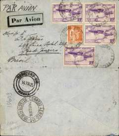 (France) Cover postmarked Salies de Bיarn (France) December 6, 1935 to Rio de Janeiro with arrival b/s December 14. Rare franking with 4 copies of Scott C7 the Blיriot commemorative flight stamp (catalogued used for $4 each in 1998).