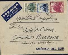 "(Spain) Acceptance from Spain for Argentina, very scarce pre-printed Aeropostale Spanish envelope ""Por Avion Par Avion Via Aeropostale"" postmarked Bilbao (Spain) December 3, 1935 with transit b/s Buenos Aires December 14 and arrival b/s Comodoro Rivadavia December 20th. The cover travelled by surface mail from Buenos Aires to Comodoro. Scarce acceptance Spanish flight and rare Aeropostale envelope especially since Air France had taken over Aeropostale the previous year."