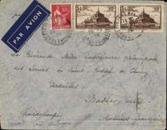 """(France) Cover postmarked Paris July 20, 1936 to Basse-Terre (Guadeloupe) with arrival b/s of August 4 and partial undated transit b/s of St-John's (Antigua). It crossed the South Atlantic on the night of July 27-28, 1936 in the Latיcoטre 301 seaplane """"Ville de Rio"""" with pilot Henri Guillaumet and 4 crew members. From Brazil, the cover was probably flown to Antigua by Pan American and then went to Guadeloupe by ship. Henri Guillaumet, the hero of the Andes, was killed in 1940 when his military plane was shot down over the Mediterranean. The regular full-air service between Dakar (Senegal) and Natal (Brazil) began on 6/1/36 after 32 experimental return flights between 1930 and 1936. Unusual destination."""