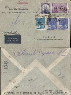 (Brazil) Registered cover from Rio de Janeiro postmarked March 13, 1937 to Paris with arrival b/s (faint) of March 18, 1937. This cover crossed the South Atlantic from Natal to Dakar during the night of March 16-17 in the Farman 2200 ?Ville de Mendoza? piloted by Rouchon and with a crew of 4. High franking (9,800 reis), non invasive closed top edge tear. The regular full-air service between Dakar (Senegal) and Natal (Brazil) began on 6/1/36 after 32 experimental return flights between 1930 and 1936.