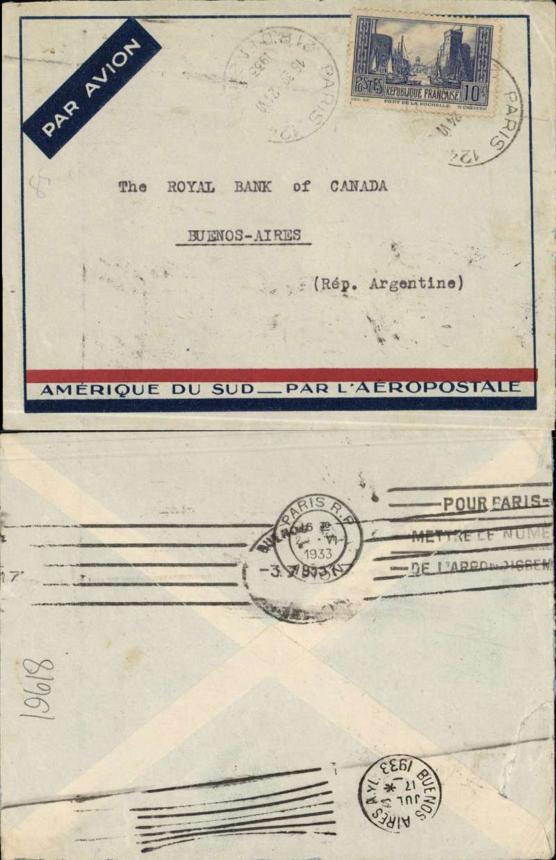 """(France) Cover from Paris postmarked June 24, 1933 to Buenos Aires with arrival b/s July 3, 1933. Single 10F stamp (Sc. 252). """"Amיrique du Sud par l'Aיropostale"""" special envelope. In 1927 November CGA opened the Argentina-Natal air service (there was an air service from Bahia and Rio to BA before then). On March 1, 1928 the ex navy ships Aviso service began."""