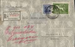 (Paraguay) Registered cover from Montevideo (Uruguay) postmarked August 15, 1936 to Hamburg (Germany) with arrival b/s of August 25, neat non invasive oval excision verso (see scan). Even though the weekly 100% air service was inaugurated in January 1936, the shortage of planes prevented from offering a regular weekly service at least for the first few months of that year. Return flights occurred on August 18 and September 8th so this cover, barely missing the August 18th flight, was sent by the old-fashion air-sea service which was still in operation to supplement the full-air service.