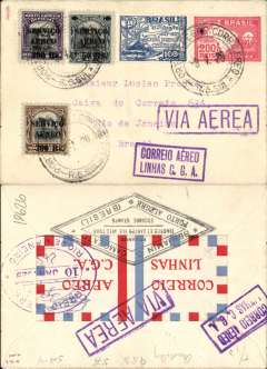 (Brazil) Aeropostale, internal airmail cover postmarked Porto Alegre January 9, 1929 to Rio de Janeiro with arrival b/s of January 10th. Two purple cachets: boxed ?Via Aerea? and boxed ?Correo Aereo Linhas C.G.A.? on front and back of cover. On back, rare large (37 x 83 mm) ?Correio Aereo Linhas C.G.A.? with red, white and blue squares all around. Franking of 850 reis.