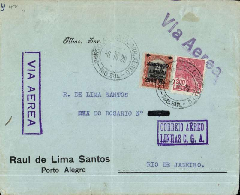 (Brazil) Aeropostale, internal airmail cover postmarked Porto Alegre March 6, 1929 to Rio de Janeiro with arrival b/s March 7th. Two purple cachets: boxed ?Via Aerea? and boxed ?Correo Aereo Linhas C.G.A.? on front of cover. On back, rare large (37 x 83 mm) ?Correio Aereo Linhas C.G.A.? with red, white and blue squares all around. On back, advertisement for a liquor company. Franking of 2300 reis.