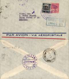 (Brazil) Internal airmail, Aeropostale pre-printed cover postmarked Rio de Janeiro March 8, 1929 to Pelotas with arrival b/s of March 9th. Boxed blue cachet ?Correo Aereo Linhas C.G.A.? (larger than the earlier cachets of this type). On back large circular Aeropostale Rio de Janeiro postmark. Franking of 350 reis.
